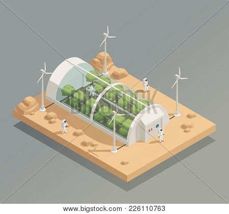 Space Research Experimental Tunnel Greenery Facility For Plant And Trees Cultivation Isometric Compo