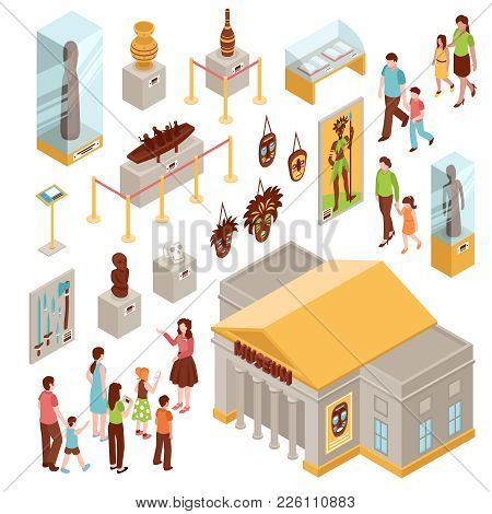 Museum Set Of Isometric Icons With Building Outside, Showcases With Exposition, Visitors At Excursio