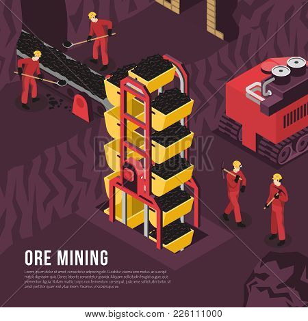 Subsurface Underground Mining Process Isometric Composition Poster With Ore Output Transportation Co