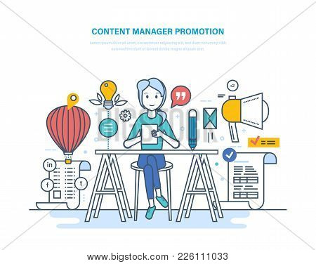 Content Manager Promotion. Work With Data, In Social Networks, Communicate In Social Services, Creat