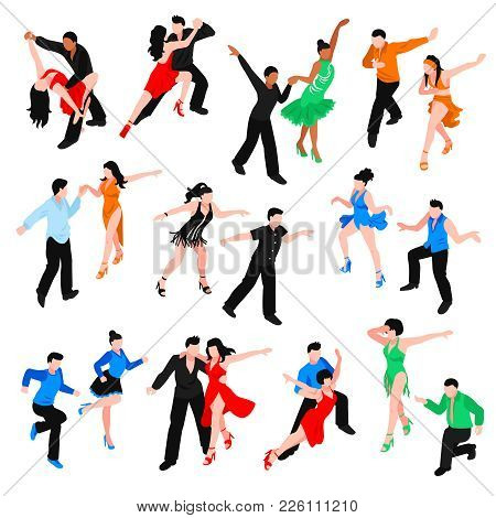 Set Of Isometric People In Bright Costumes During Latin Dances Salsa, Rumba, Samba Isolated Vector I
