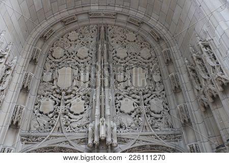 Gothic Revival Architecture On A Skyscraper In Chicago, Il