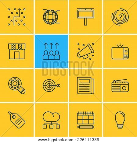 Vector Illustration Of 16 Advertising Icons Line Style. Editable Set Of Strategy, Promotion, Outdoor