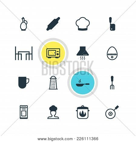 Vector Illustration Of 16 Restaurant Icons. Editable Set Of Dining Table, Kitchen Hood, Hot Pan And