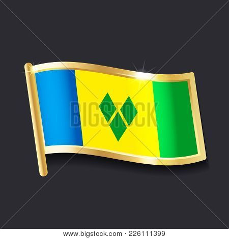 Flag Of  Saint Vincent And The Grenadines In The Form Of Badge, Flat Image