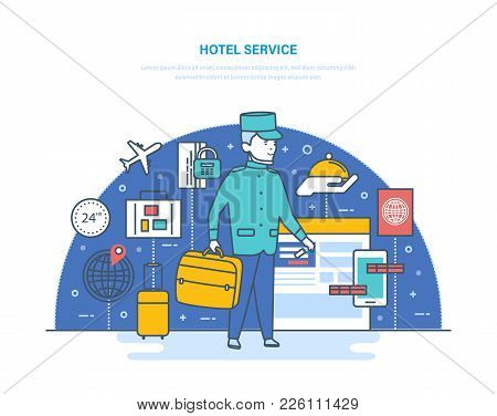 Hotel Service. Online Hotel Reservation, Room. Delivery Of Luggage, Room Service, Entry And Payment