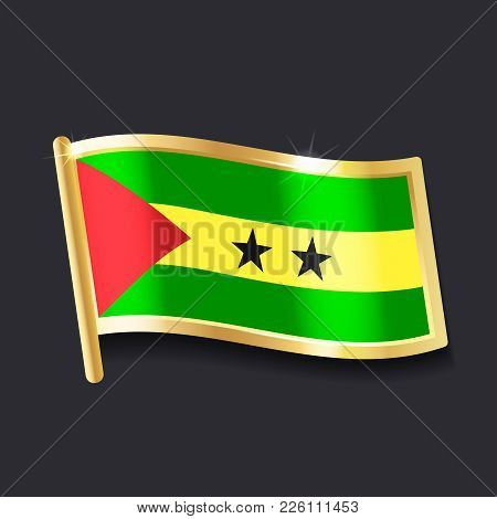 Flag Of Sao Tome And Principe In The Form Of Badge, Flat Image