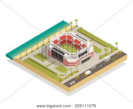 American Football Stadium Field With Goal Lines Isometric Composition In Coastal Area With Adjacent