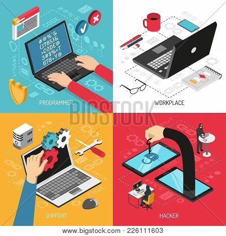 Programmer Work 4 Isometric Icons Concept Square With Typing Code Laptop Screen Office Accessories I