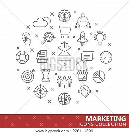 Collection Of Marketing Thin Line Icons. Vector Eps10