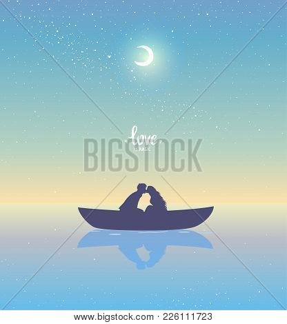 Romantic Silhouette Of Loving Couple At Sunset In A Boat. Valentines Day. Happy Lovers. Vector Illus