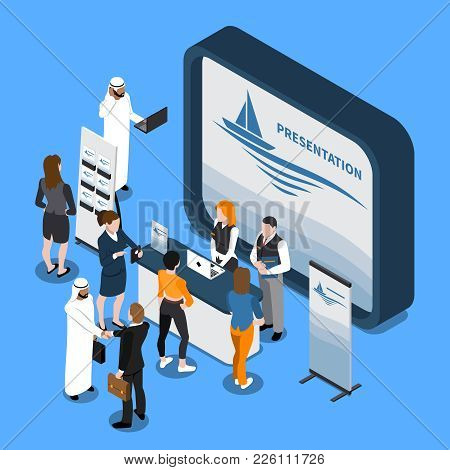 Exhibition Stand With Presentation On Screen, Business People, Handout, Banner Isometric Composition
