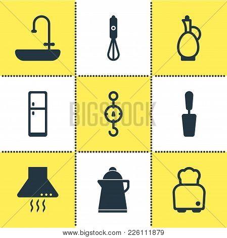 Vector Illustration Of 9 Restaurant Icons. Editable Set Of Scales, Decanter, Blender And Other Icon
