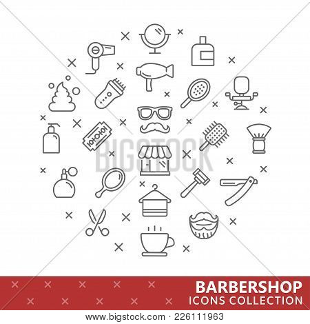 Collection Of Barbershop Thin Line Icons. Vector Eps 10