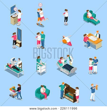 Pregnancy Isometric Icons Isolated On Blue Background With Medical Examination, Woman Waiting Baby,