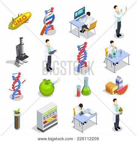 Genetically Modified Organisms Set Of Isometric Icons With Dna Research, Gmo Goods, Scientific Labor