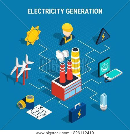 Colored Isolated Isometric Electricity Composition With Electricity Generation Description And Chart