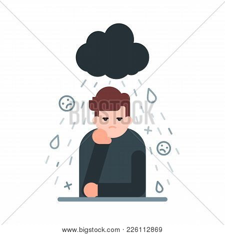 Vector Illustration Of A Sad And Depressed Man, Bad Mood