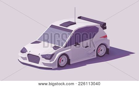 Vector Low Poly Rally Racing Car In White Livery