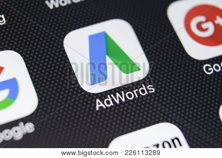 Sankt-petersburg, Russia, February 11, 2018: Google Adwords Application Icon On Apple Iphone X Scree