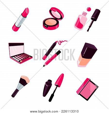 Make Up Objects, Cosmetics Vector Illustration Flat Style