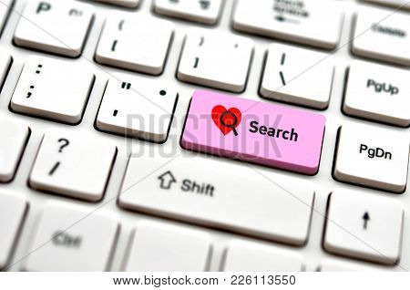 Computer Keybord With Word Search And Heart Icon, Selected Focus On Enter Button Bacground, Heart Co