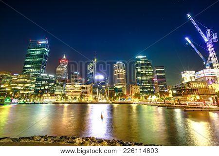 Perth, Australia - Jan 5, 2018: Esplanade With Modern Skyscrapers And Construction Cranes Reflecting