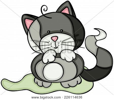 Scalable Vectorial Representing A Cute Gray Cat, Illustration Isolated On White Background.