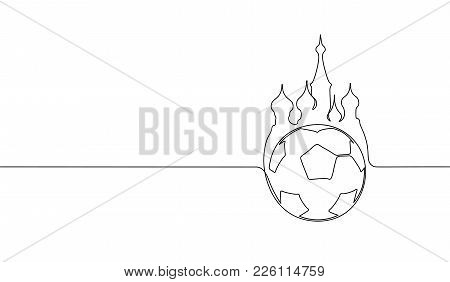 Single Continuous Line Art Russia Red Square Football Ball Silhouette. Championship Final Play Game