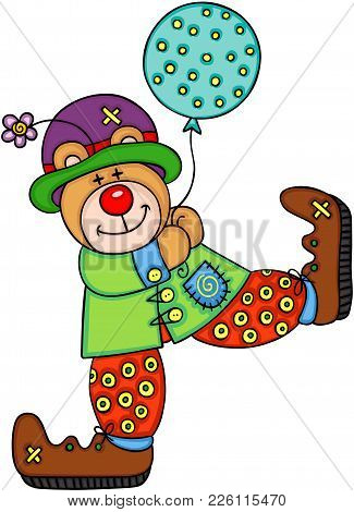 Scalable Vectorial Representing A Happy Teddy Bear Clown, Illustration Isolated On White Background.