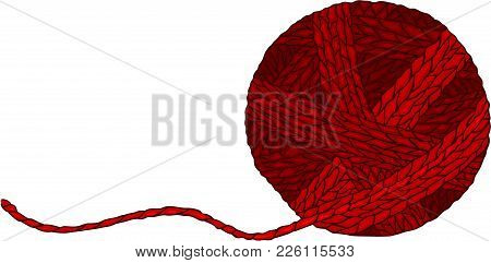 Scalable Vectorial Representing A Red Wool Ball For Yarn, Illustration Isolated On White Background.