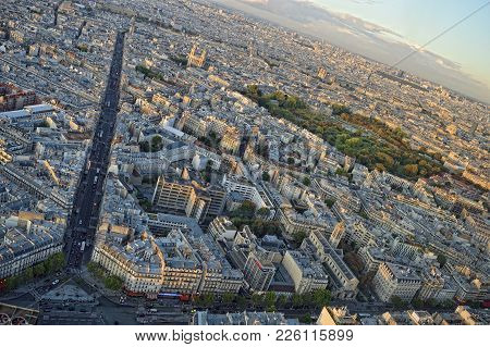 Beautiful Summer Sunset Over A Paris, France.