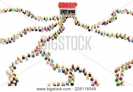 Crowd Of Small Symbolic Figures Small Shop Queues Mixed, 3d Illustration, Isolated Horizontal, Over