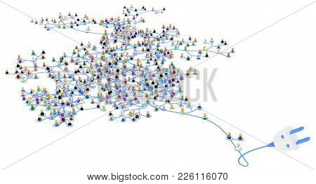 Crowd Of Small Symbolic 3d Figures Linked By Lines Layered Network System, Power Cord, Over White, H