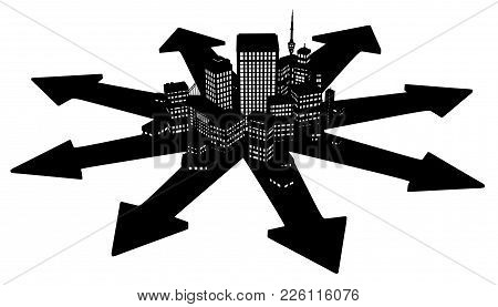 Dark Office Buildings City Cartoon Arrow Directions, 3d Illustration, Horizontal, Over White, Isolat