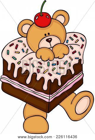 Scalable Vectorial Representing A Teddy Bear In Cake With Cherry On Head, Illustration Isolated On W