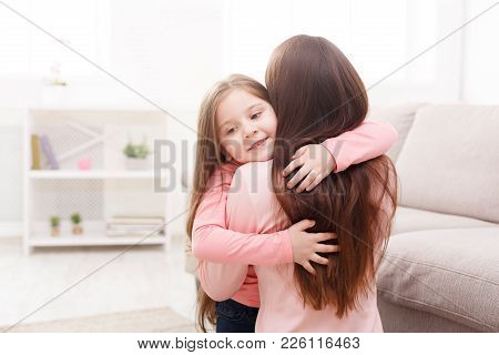 Mother And Her Happy Daughter Child Girl Playing And Hugging. Mothers Day, Relationship, Motherhood,