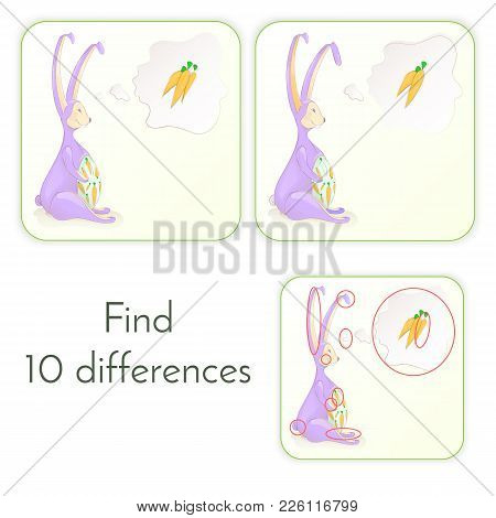 Find 10 Differences. Vector Illustration Of A Rabbit With A Carrot Puzzle. Jigsaw For Your Brain