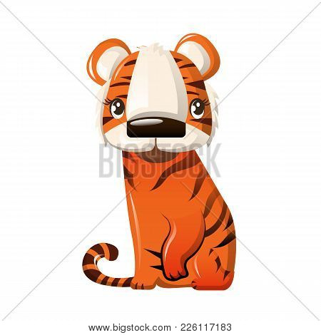 Beautiful Funny Cartoon Character Of A Striped Tiger Sitting On His Paws. Modern Wild Animal From Th
