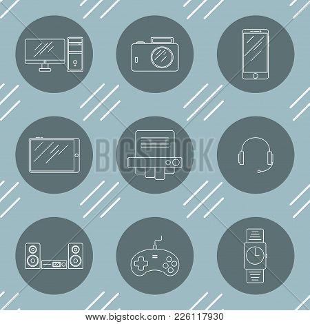 A Set Of Icons With The Image Of Electronics From Nine Pieces