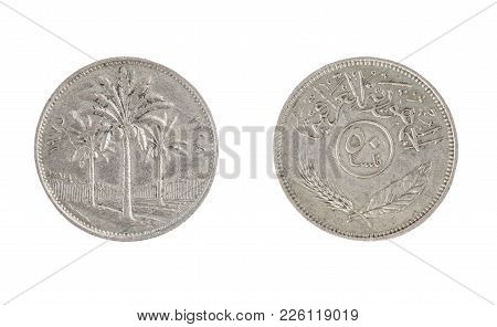 Set Of Commemorative The Iraq Coin, The Nominal Value Of 50 Fils. Isolate On White Background