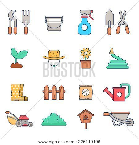 Gardening Icon Set, Flat Style. Equipment Set Of Objects Needed For Gardening And Farming. Isolated