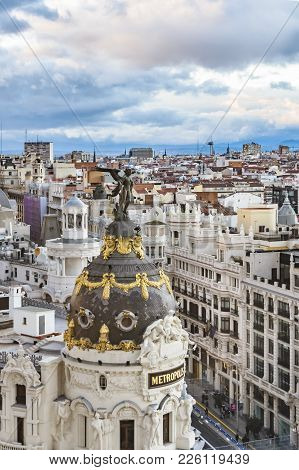 Madrid, Spain, December - 2017 - Aerial View Of Madrid City From Fine Arts Circle Viewpoint Bar.
