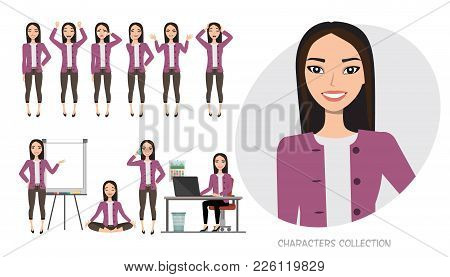 Set Of Emotions And Poses For Asian Business Woman.young Girl In A Cartoon Style Experiences Differe