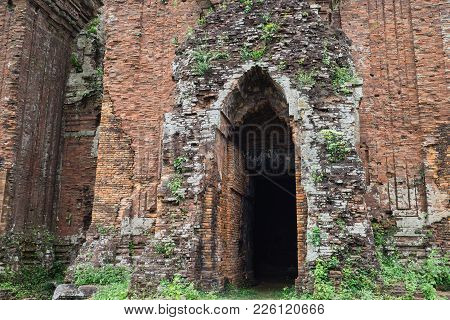 Closed Entrance View Of Chien Dan, Champa Ancient Tower In Quang Nam, Vietnam, Is A Group Of Three T