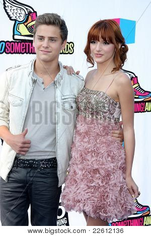 LOS ANGELES - AUG 14:  Garrett Backstrom, Bella Thorne arriving at the 2011 VH1 Do Something Awards at Hollywood Palladium on August 14, 2011 in Los Angeles, CA