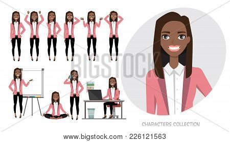 Set Of Emotions And Poses For Black African American Business Woman.young Girl In A Cartoon Style Ex