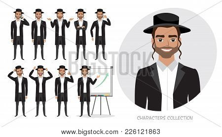 Set Of Emotions And Poses For Jew Business Man. Male In A Cartoon Style Experiences Different Emotio