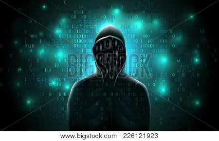 Silhouette Of A Hacker In A Hood With Binary Code On A Luminous Background, Hacking Of A Computer Sy