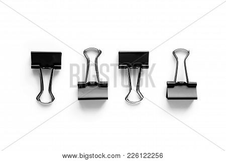 Binder Clips On White Background For Office And School Stationary Concept
